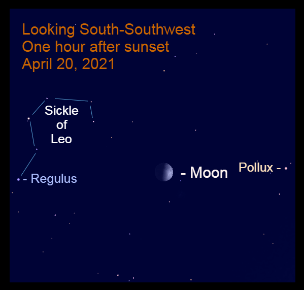 2021, April 20: The moon, in front of the dim stars of Cancer, is between Regulus and Pollux.