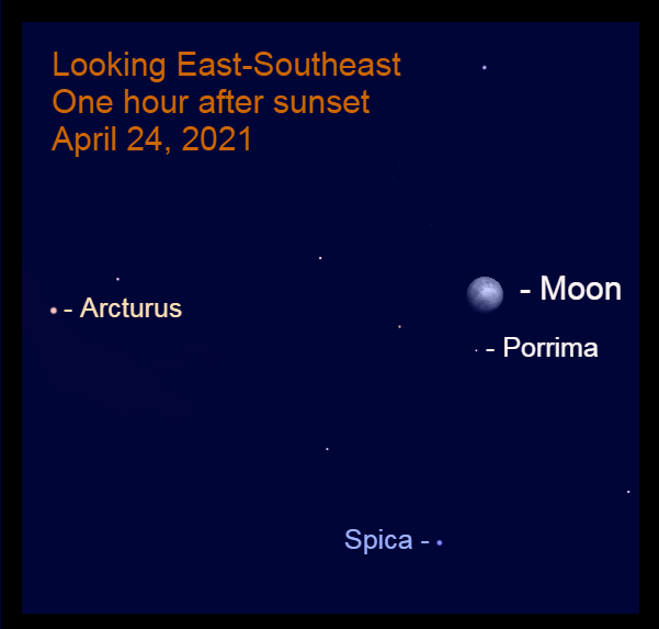 2021, April 24: During the evening the moon is near Porrima in Virgo. Arcturus is to the left of the moon, while Spica is to the lower left of the lunar orb.