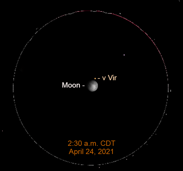 2021, April 24: In this simulated binocular view, the gibbous moon is near Nu Virginis (ν Vir).