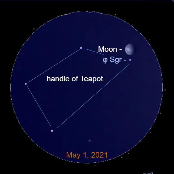 2021, May 1: Through a binocular, the moon is above the star Phi Sagittarii (φ Sgr) in the handle of the Teapot Sagittarius.