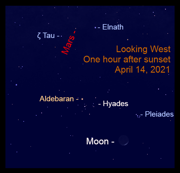 2021, April 14: After sunset, the lunar crescent is to the lower left of the Pleiades star cluster, while Mars is above the Bull's horns.