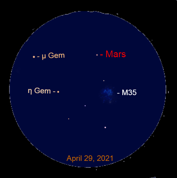 2021, April 29: In a binocular, Mars is to the upper left of the star cluster Messier 35 (M35).
