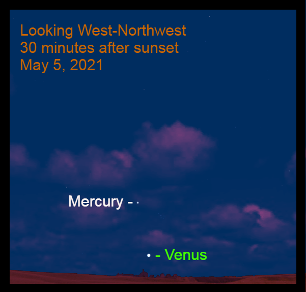 2021, May 5: Venus and Mercury appear low in the west-northwest after sunset. Mercury is 7.4° to the upper left of Venus.
