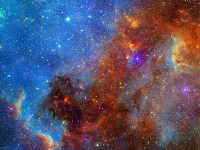 North American Nebula in Different Lights This new view of the North American nebula combines both visible and infrared light observations, taken by the Digitized Sky Survey and NASA's Spitzer Space Telescope, respectively, into a single vivid picture.