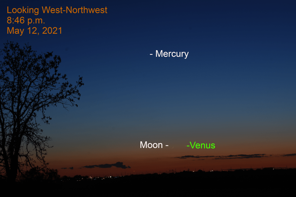 2021, May 12: Venus, the crescent moon, and Mercury are in the west-northwest after sunset.