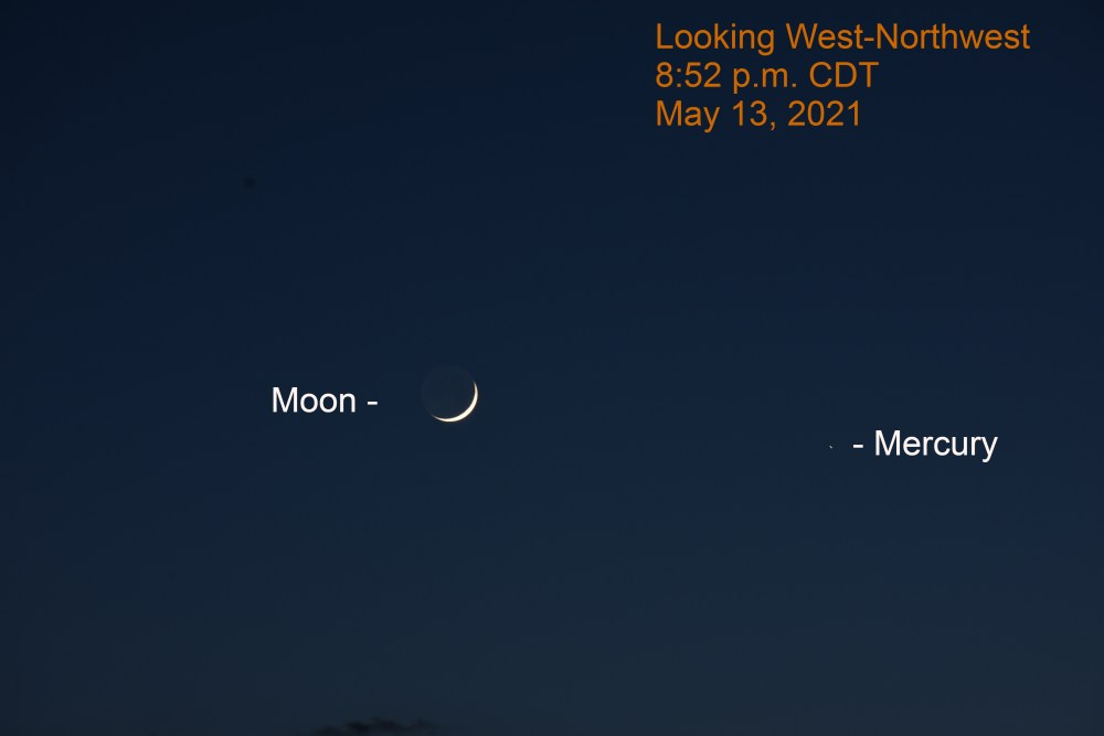 2021, May 13: The crescent moon is 3.2° to the upper left of Mercury.