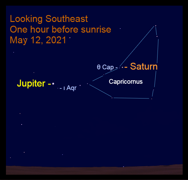 2021, May 12: Morning planets Jupiter and Saturn are in the southeastern sky before sunrise.