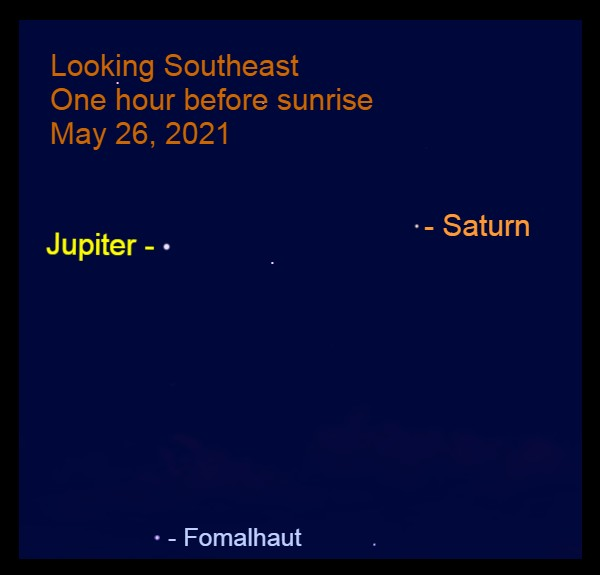 2021, May 26: Bright morning planets, Jupiter and Saturn, are in the southeast before sunrise.
