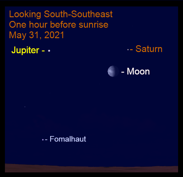 2021, May 31: The gibbous moon is to the lower left of Saturn during morning twilight.