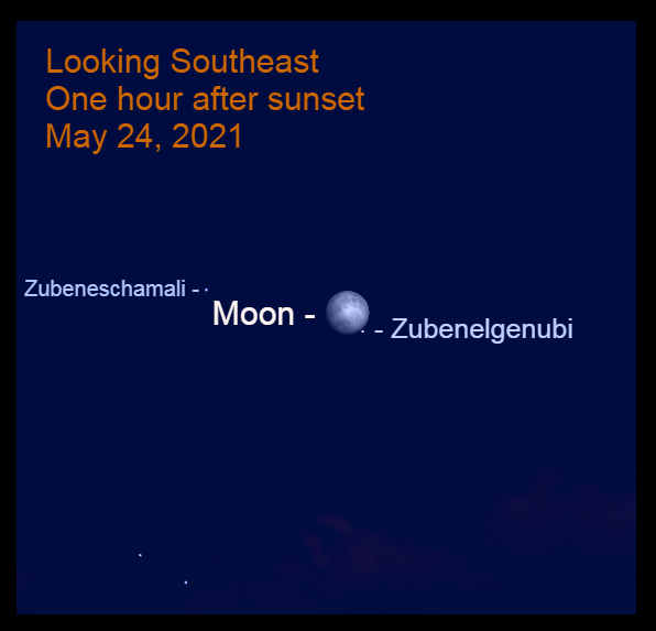 2021, May 24: After sunset, the moon is in the southeastern sky, near Zubenelgenubi.