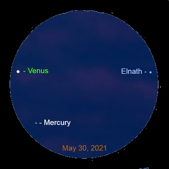 2021, May 30: Forty-five minutes after sunset, use a binocular to spot Mercury 2.5° to the lower right of brilliant Venus. The star Elnath is 6.1° to the right of the brilliant planet.