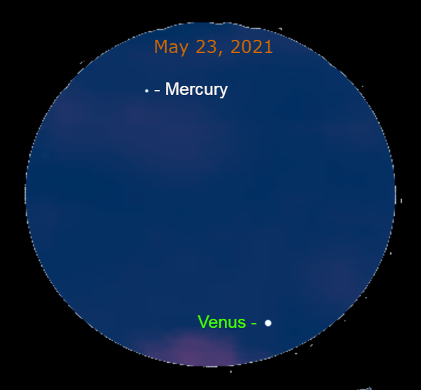 2021, May 23: Through a binocular, spot Mercury 5.7° to the upper left of Evening Star Venus.2021, May 23: Through a binocular, spot Mercury 5.7° to the upper left of Evening Star Venus.