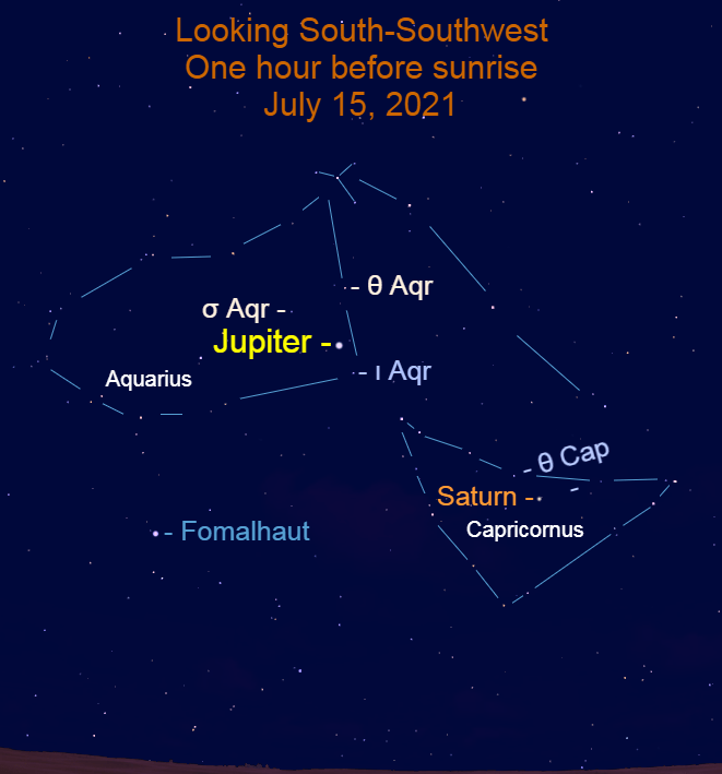 2021, July 15: One hour before sunrise, bright Jupiter and Saturn are in the south-southwest.