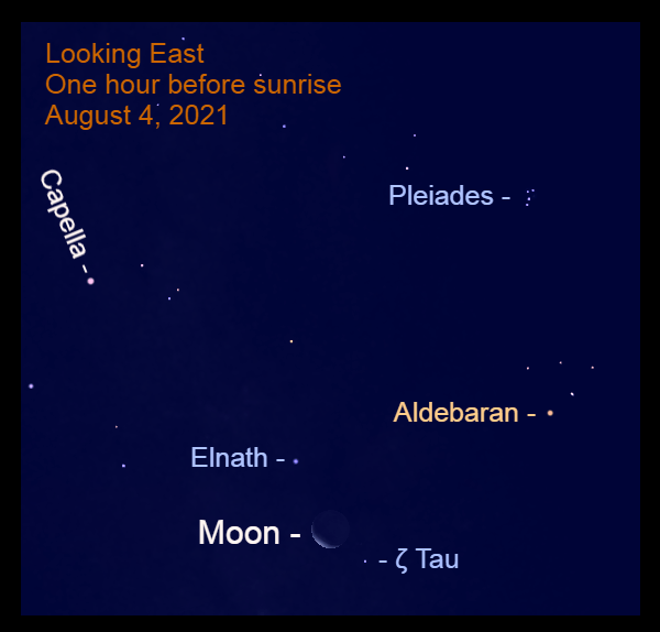 """2021, August 4: The waning moon, 16% illuminated, seems to be caught between the horns of Taurus – Elnath, """"the one butting with horns,"""" and Zeta Tauri."""