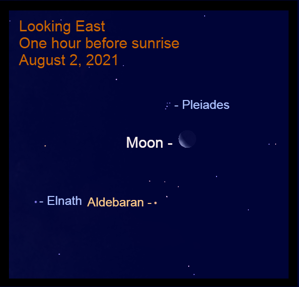 2021, August 2: The crescent moon, 33% illuminated, is less than halfway up in the east.