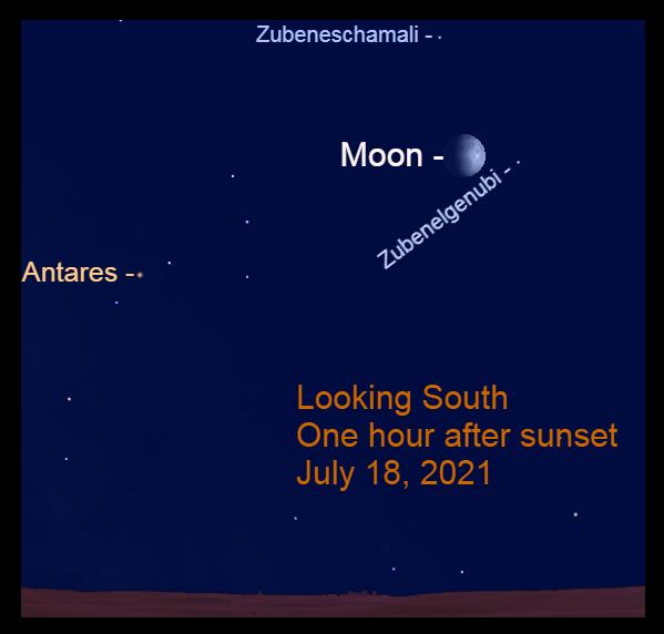 2021, July 18: The moon is to the upper left of Zubenelgenubi.