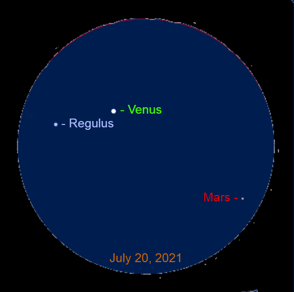 2021, July 20: Through a binocular, Venus is 1.6° to the upper right of Regulus and 4.3° to the upper left of Mars.