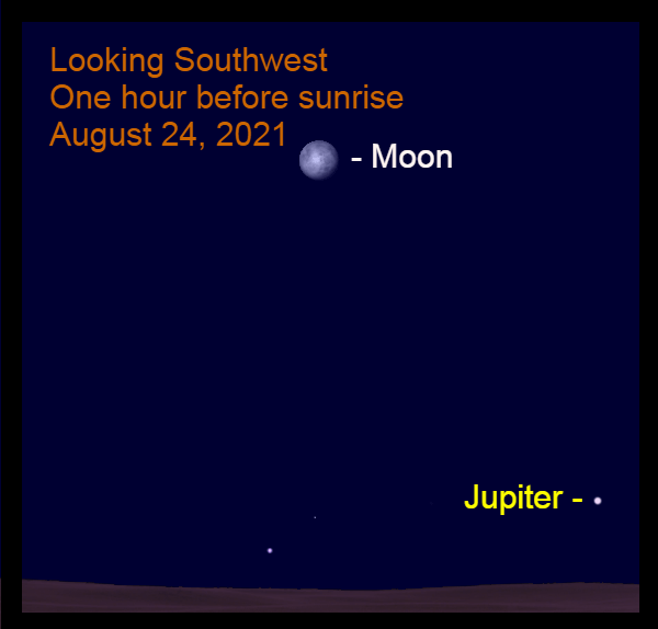 2021, August 24: The bright moon is in the southwest before sunrise, to the upper left of Jupiter.