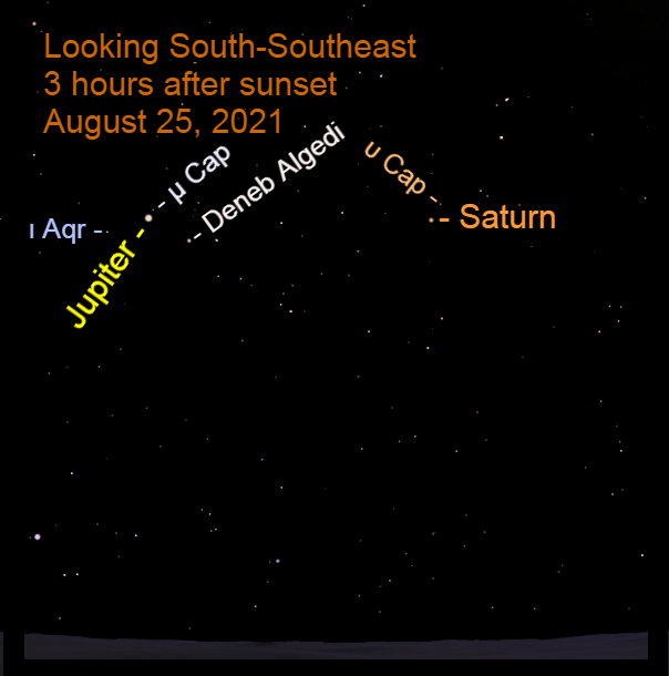 2021, August 25: During the early evening hours, Jupiter and Saturn are in the southeastern sky in front of the stars of Capricorni.