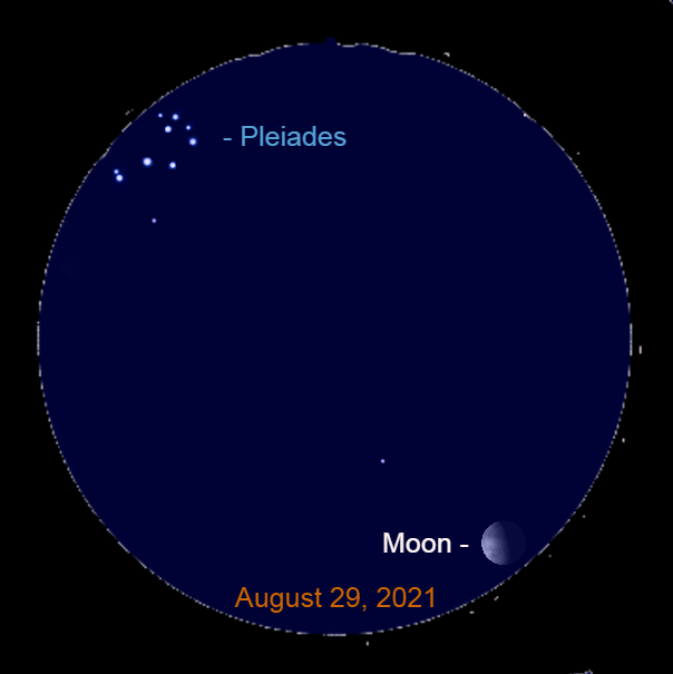 2021, August 29: The Pleiades star cluster and the morning moon appear in the same field of view.