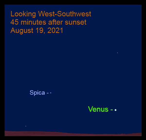 2021, August 19: Venus and Spica are in the western sky.