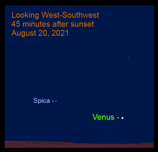 2021, August 20: Venus and Spica are in the western sky.