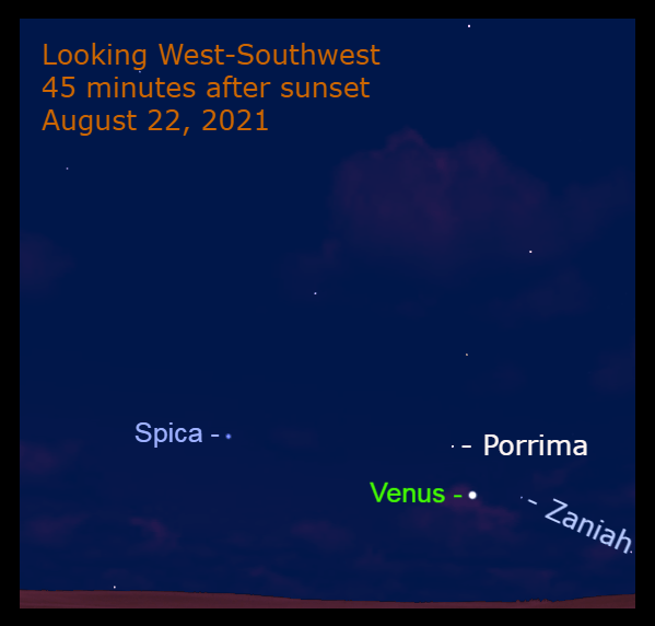 2021, August 22: Brilliant Evening Star Venus is low in the west as night falls, among the stars of Virgo.