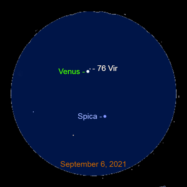 2021, September 6: Through a binocular, Venus 2.0° to the upper left of Spica and 0.1° to the lower left of 76 Virginis (76 Vir).