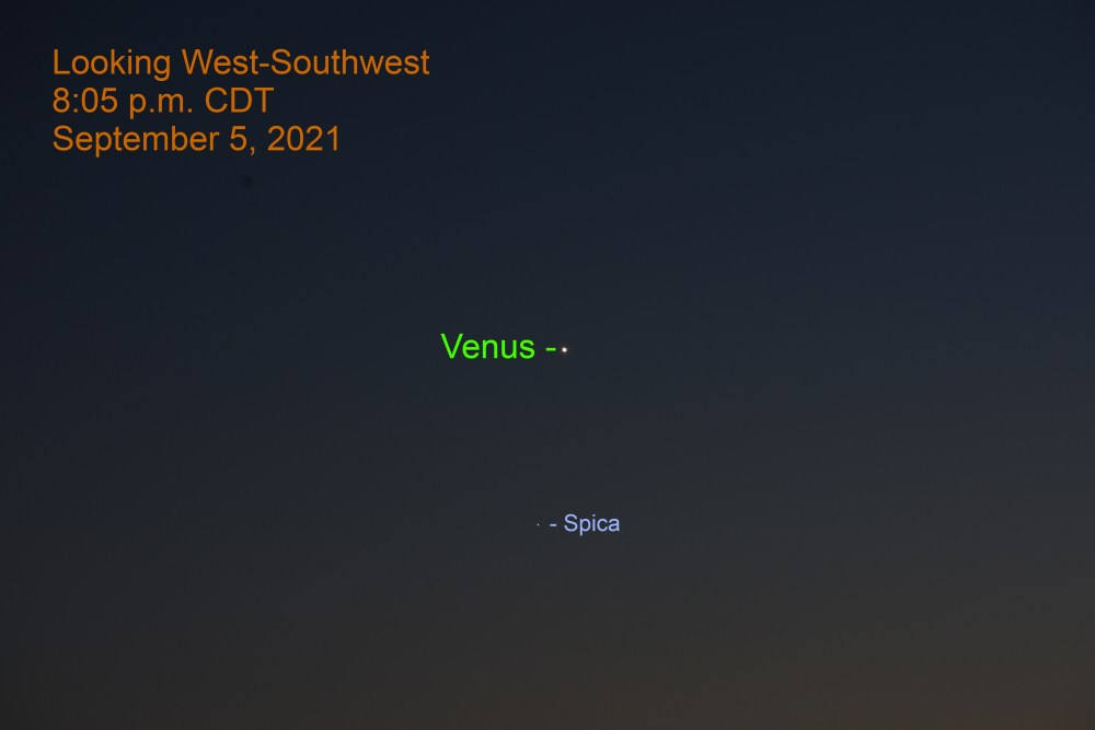 2021, September 5, 2021: Venus and Spica in the west-southwest after sunset.