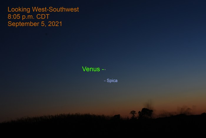 2021, September 5: Venus and Spica are visible during evening twilight in the west-southwest.