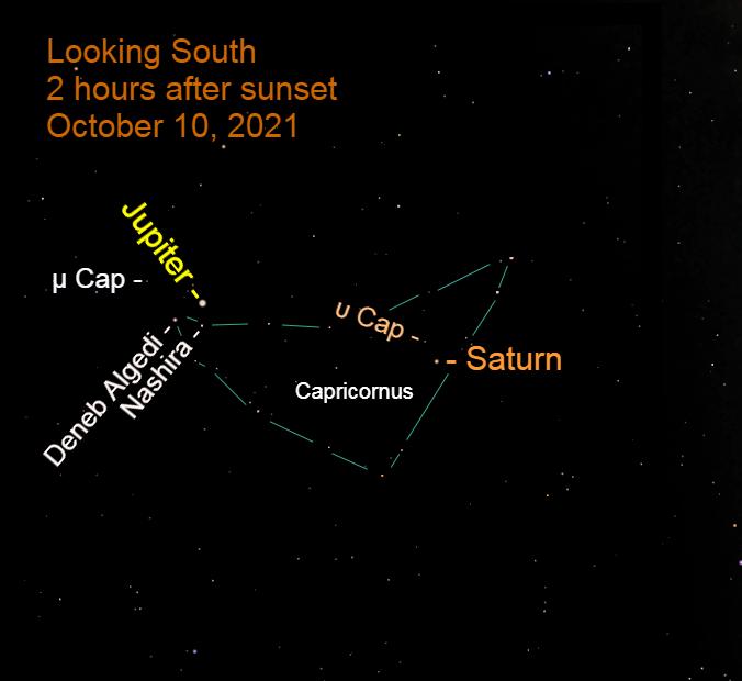 2021, October 10: Saturn's retrograde ends in western Capricornus.