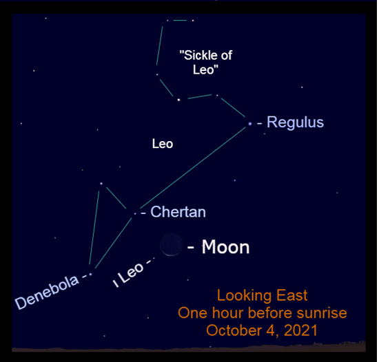 2021, October 4: The crescent moon is low in the eastern sky before sunrise, near the haunches of Leo.