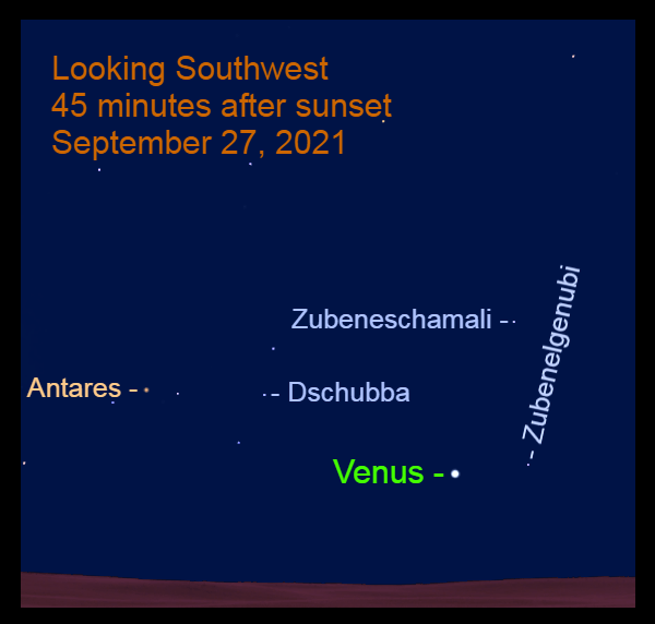 2021, September 27: After sunset, Venus is 4.7° to the lower left of Zubenelgenubi and 20.7° to the lower right of Antares.