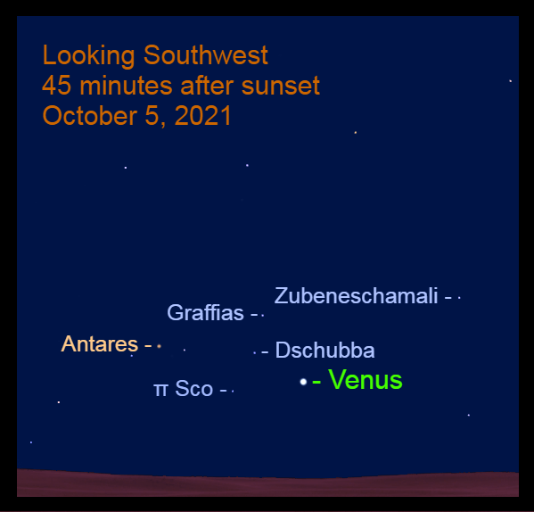 2021, October 5: Forty-five minutes after sunset, brilliant Venus is 4.5° to the lower right of Dschubba.