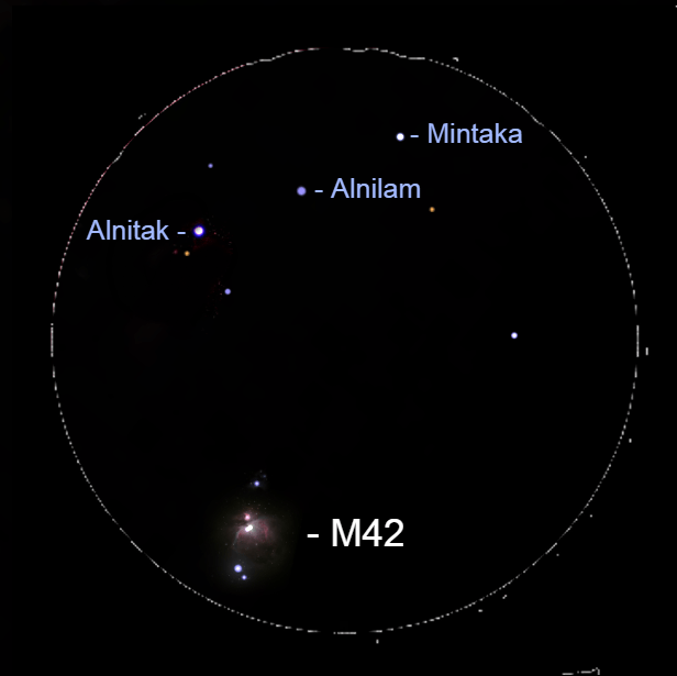 2021, October 16: In this binocular view, Orion's Great Nebula is visible with the Hunter's three belt stars.
