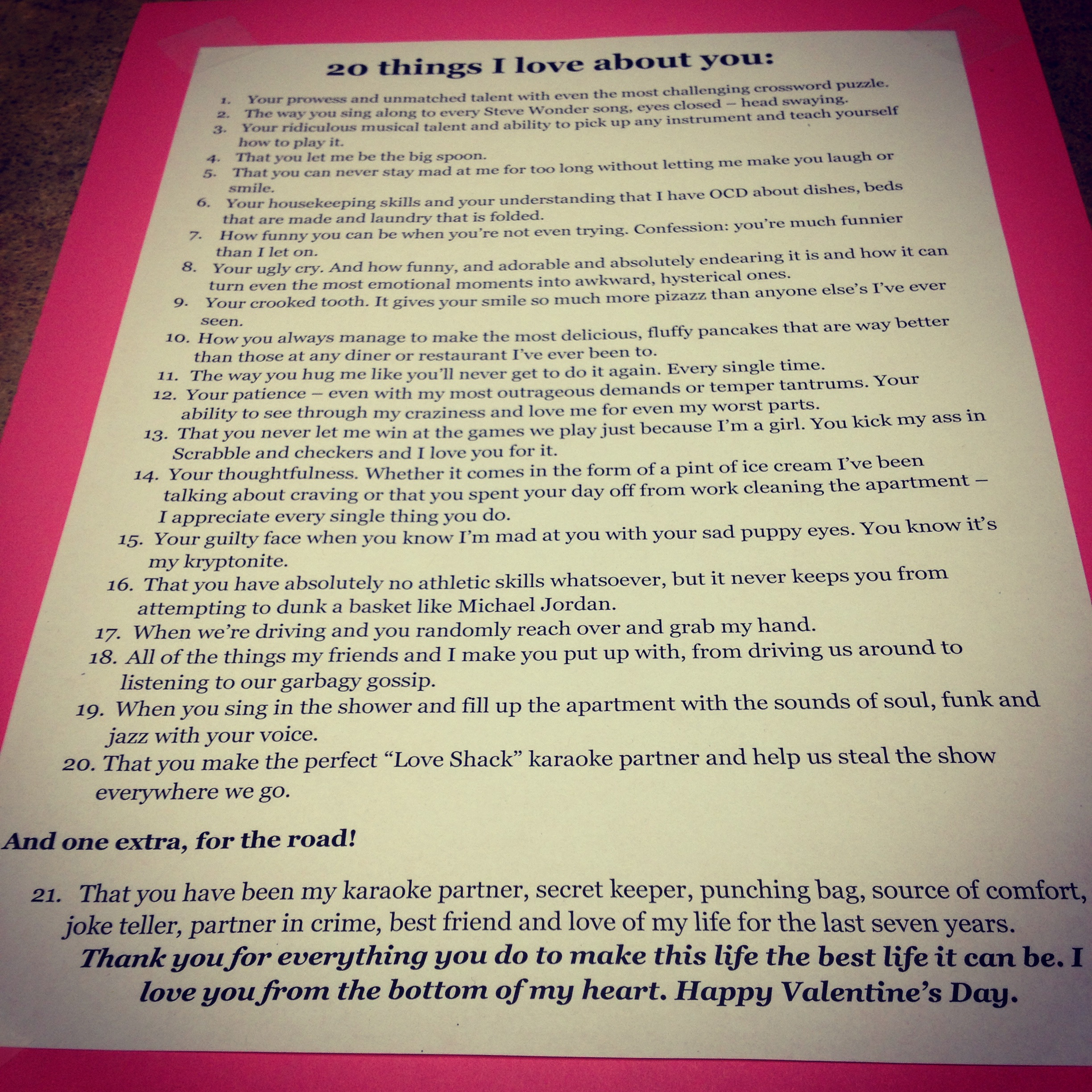 15 A Valentine S Day Special Write 20 Things I Like
