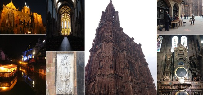 Clockwise from bottom left: Little Venice (a be-canaled section of the Colmar Old Town); a few views of the Colmar Cathedral. The Strasbourg Cathedral takes us to new heights; toe-tapping music in its shadow outside, and inside the cathedral it's the astronomical clock keeping us in good measure.