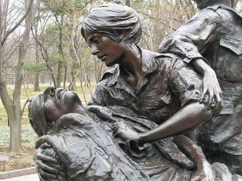 Close-up of the Vietnam women's memorial