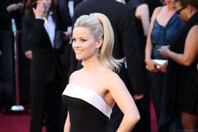 Reese Witherspoon at the Oscars for #AskHerMore