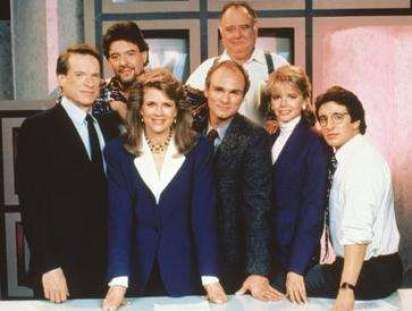 Candice Bergen and her TV cast on Murphy Brown