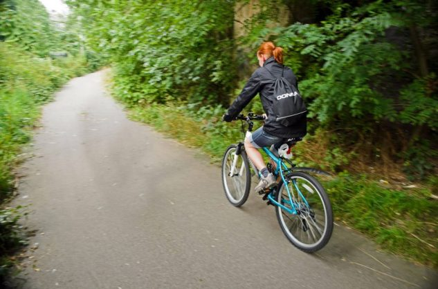Biking to work is an example of green living