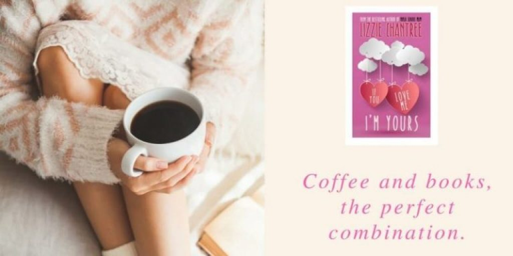 Lizzie Chantree's book cover beside a closeup of a woman with a cup of coffee