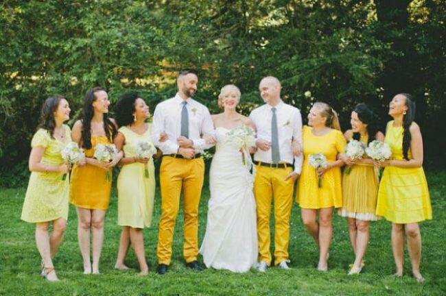 All wear something different in the wedding's theme colors