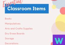 Classroom items list