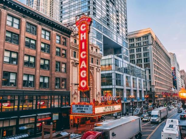 A street-level view of the The Chicago Theatre