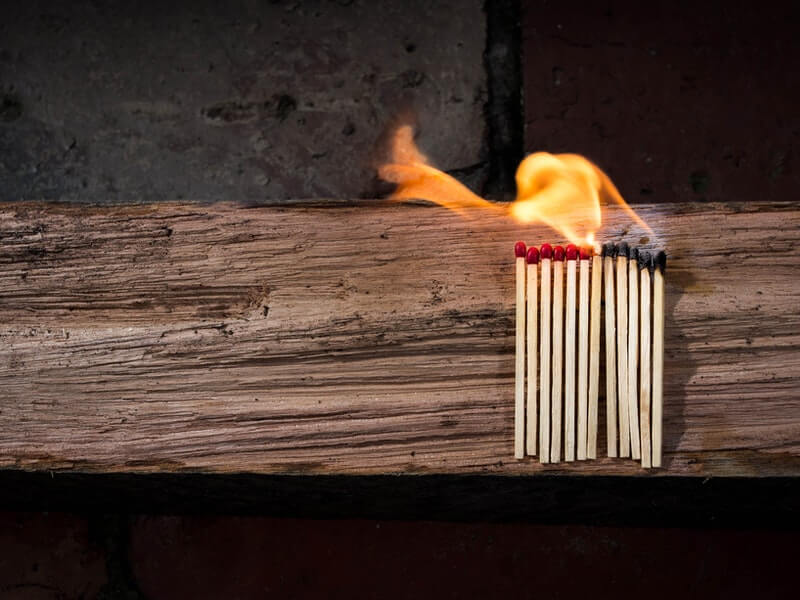 Matches burning: You're exhausted