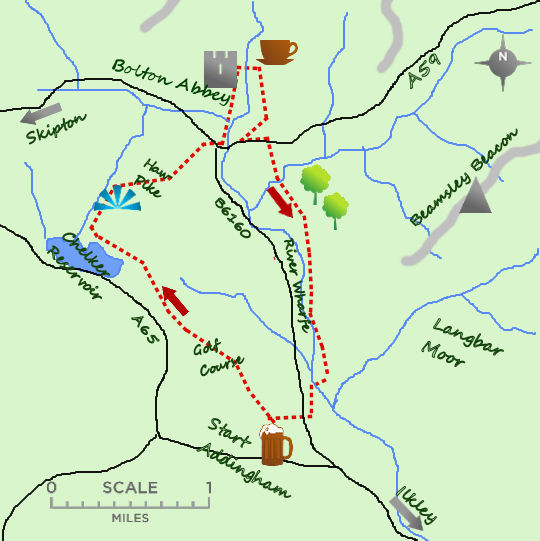 Addingham to Bolton Abbey map
