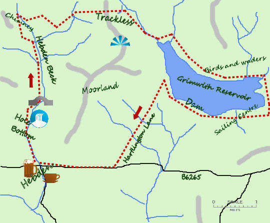 Hebden Beck & Grimshaw Reservoir map
