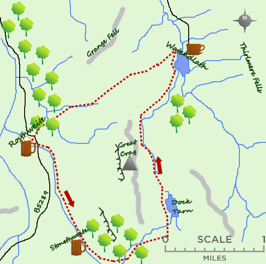 Dock Tarn & Watendlath map