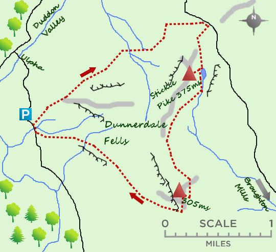 Dunnerdale Fells map